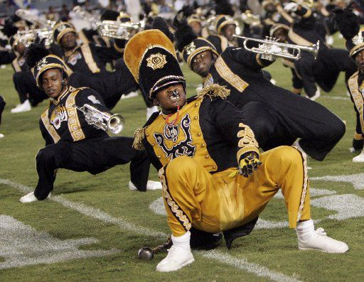 State Fair Classic, Grambling State University vs. Prairie View A&M college football -- Grambling's band performs during halftime in a football game against Prairie View A&M University at the Cotton Bowl in Dallas on Saturday, October 4, 2008.  09232010xQUICK
