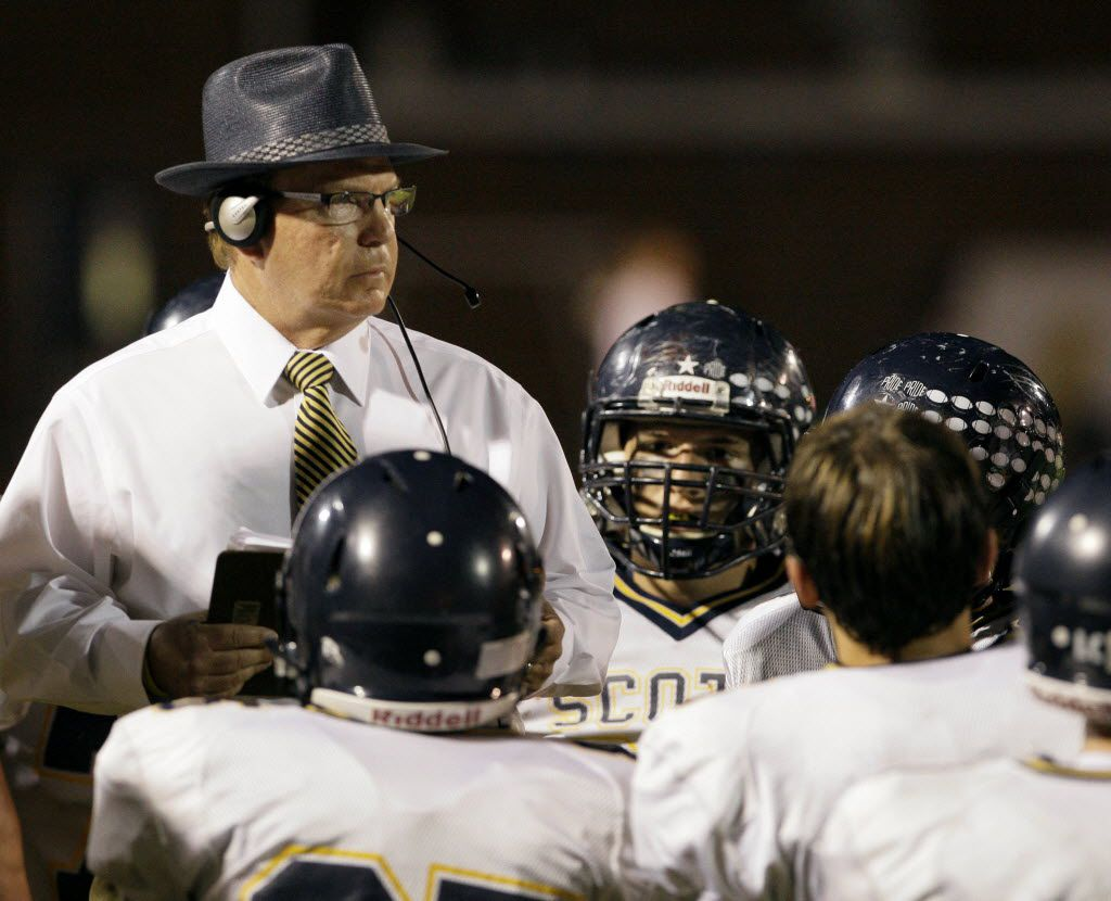Highland Park High School Head Coach Randy Allen talks with players during a game against Pearce High School Friday Oct. 14, 2011 in Richardson. (Photo by Amy Gutierrez/Special Contributor)