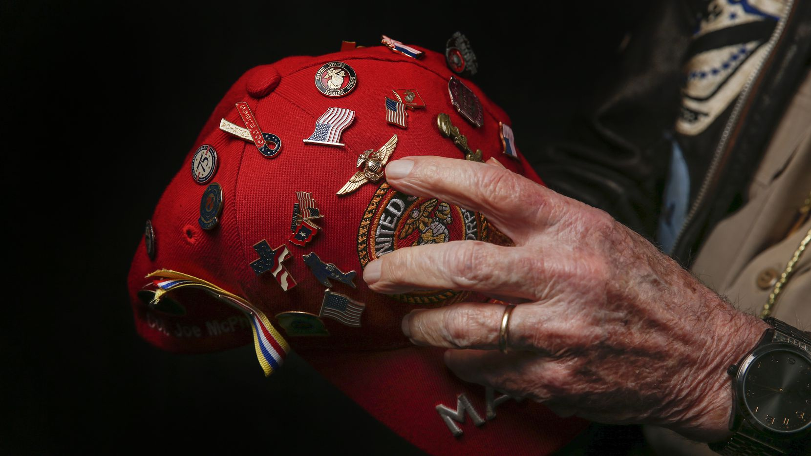 Joe McPhail, 98, of Houston, Texas, a colonel who served as a fighter pilot in the Marines' World War II VMF-323 Death Rattlers, is photographed during the Wings Over Dallas Airshow on Saturday, Oct. 26, 2019 in Dallas.