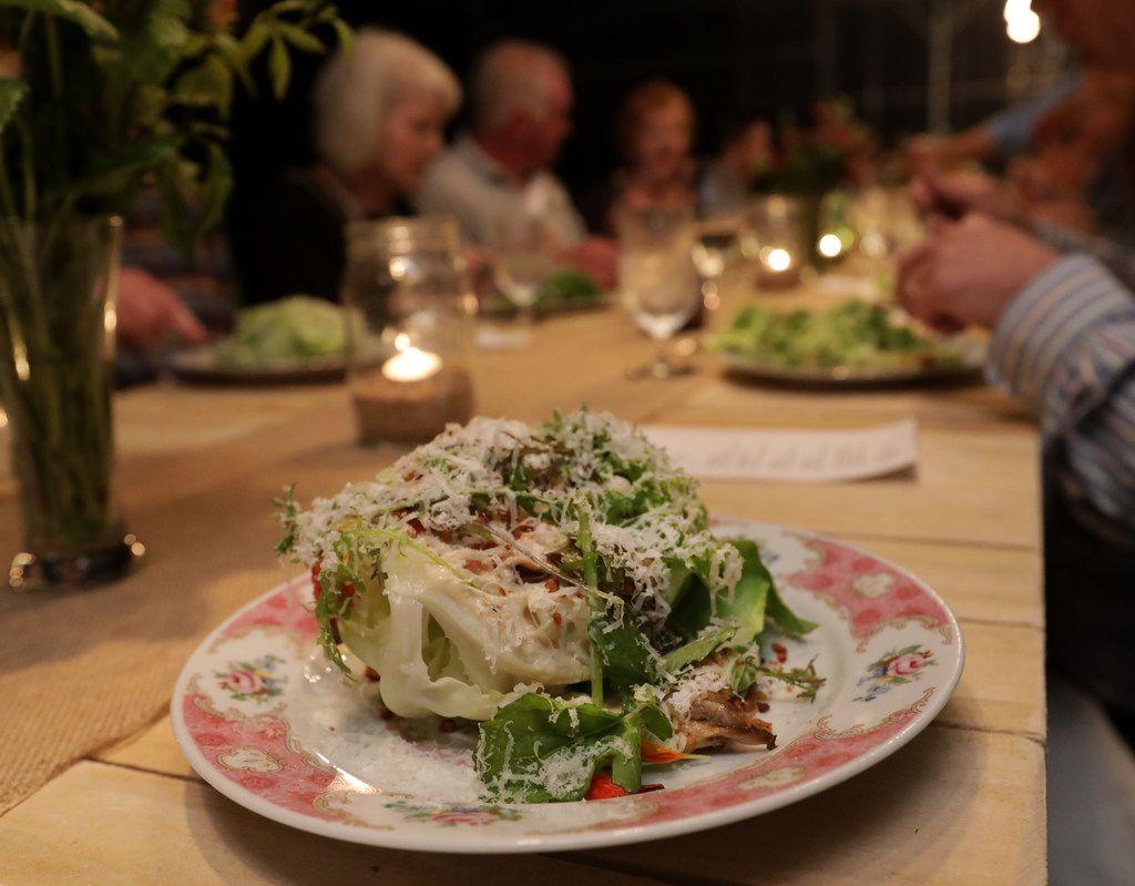 Bibb lettuce salad with smoked mushroom dressing and crisp chicken skin
