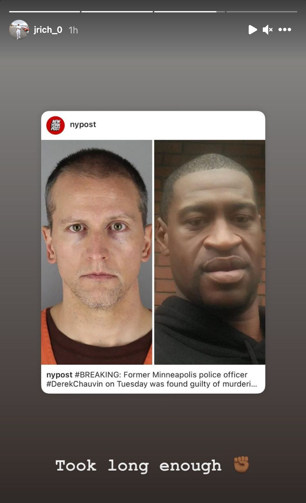 A screenshot from Dallas Mavericks guard Josh Richardson's Instagram story.
