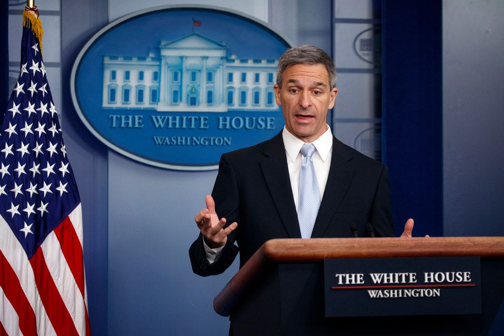 FILE - Acting Director of United States Citizenship and Immigration Services Ken Cuccinelli, speaks during a briefing on controversial  changes to immigration policy.