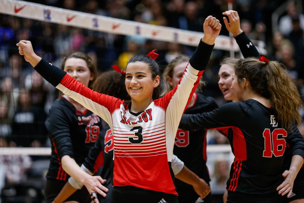 LovejoyÕs Callie Kemohah  (3) celebrates after scoring in the third set of a class 5A volleyball state semifinal match against Canyon Randall at the Curtis Culwell Center in Garland, on Saturday, November 23, 2019. Lovejoy won all three sets 27-25, 25-17 and 25-15. (Juan Figueroa/The Dallas Morning News)
