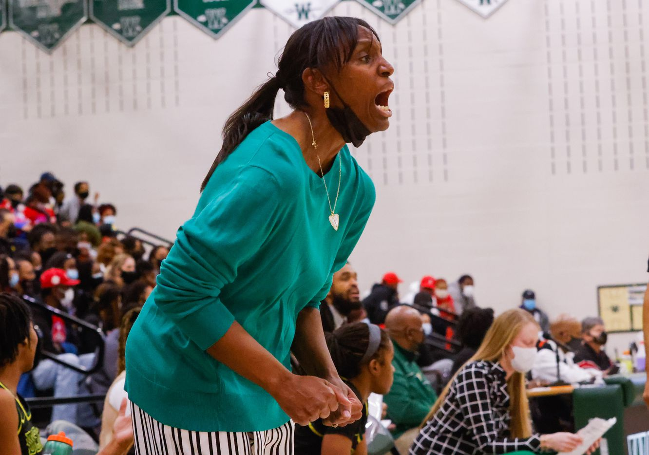 DeSoto's coach Andrea Robinson during the first half of a girls basketball Class 6A Region II UIL game against Duncanville in Waxahachie on Tuesday, March 2, 2021. DeSoto won the game 52-39. (Juan Figueroa/ The Dallas Morning News)