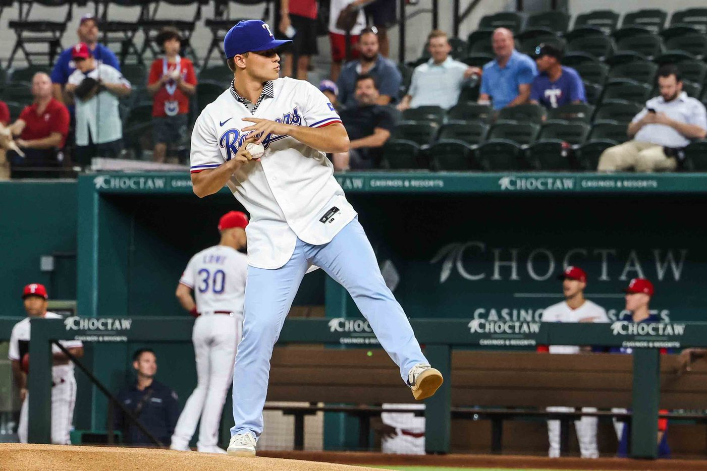 First pitch by Jack Leiter for Arizona Diamondbacks at Texas Rangers at the Globe Life Field in Arlington, Texas on Wednesday, July 28, 2021. (Lola Gomez/The Dallas Morning News)