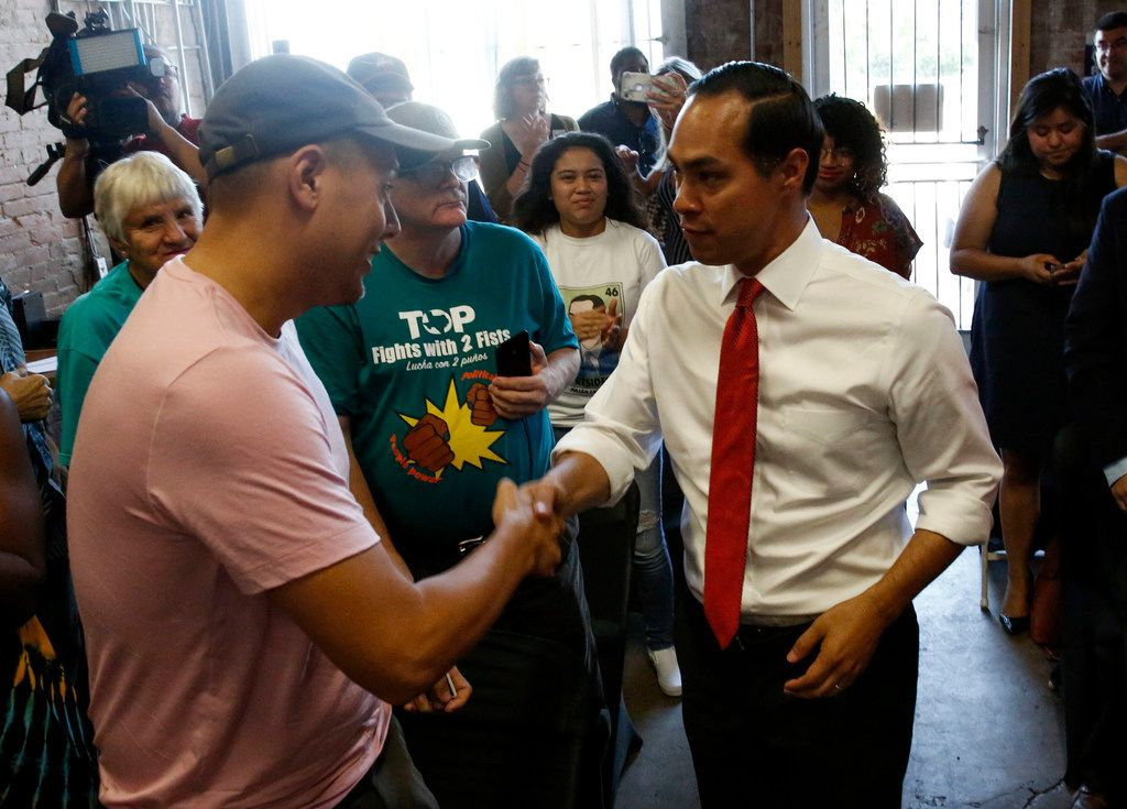 Democratic presidential hopeful Secretary Julian Castro greeted audience members before speaking to  Texas Working Families Party members during a candidate forum at the the Village Bridge Center in Dallas on  Thursday.
