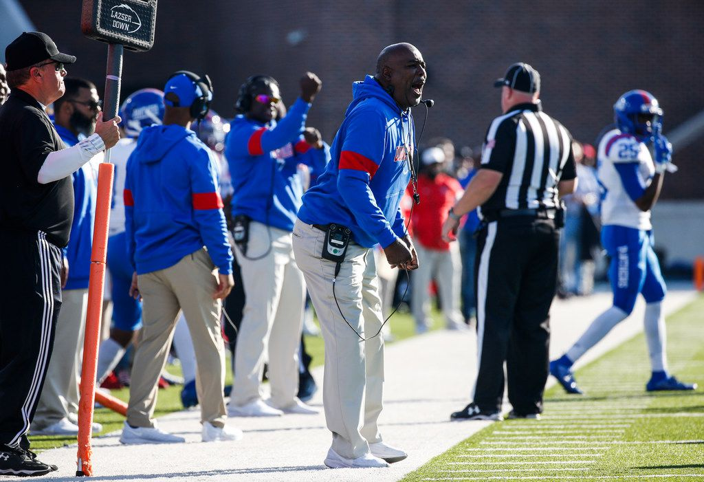 Duncanville head coach Reginald Samples works the sideline during the first half of a Class 6A Division I Region I high school football matchup between Southlake Carroll and Duncanville on Saturday, Dec. 7, 2019 at McKinney ISD Stadium in McKinney, Texas. (Ryan Michalesko/The Dallas Morning News)
