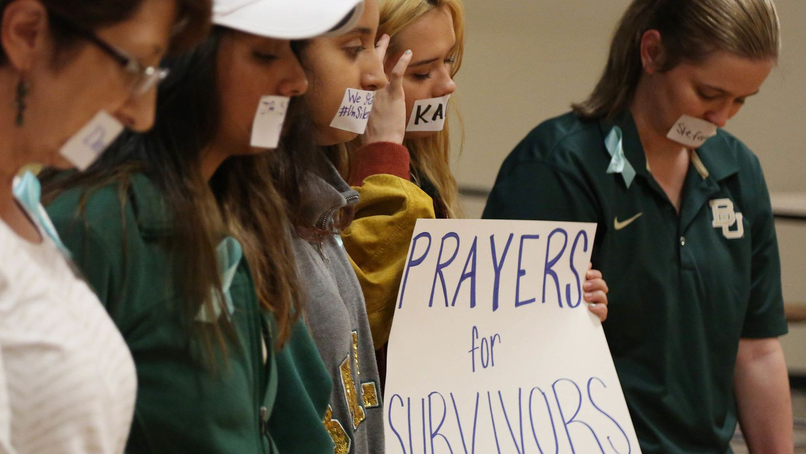 Current and former Baylor students hold a rally warning of sexually assaults on and off campus last summer.