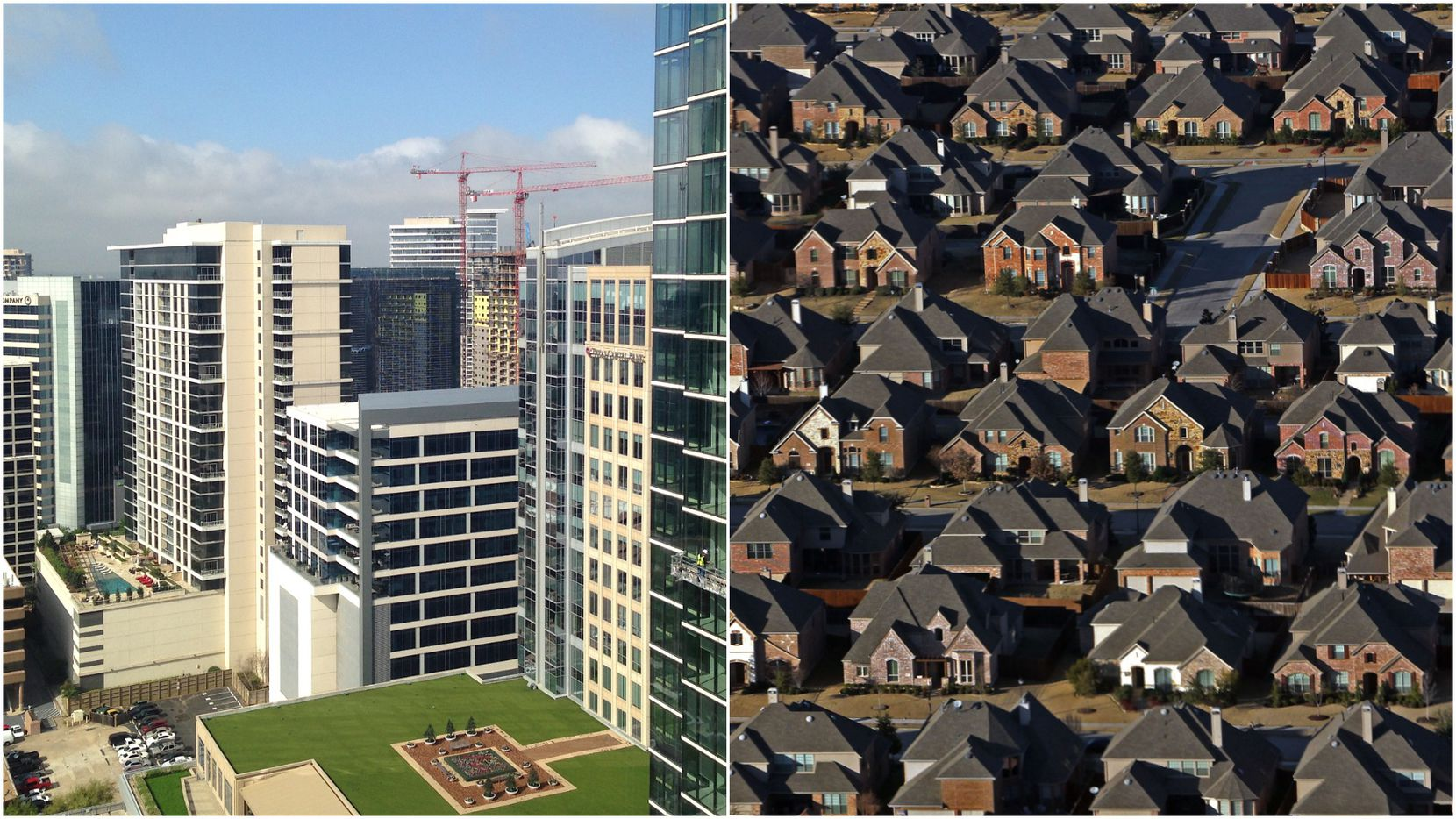 The urban Uptown Dallas vs. suburban Frisco landscapes observed side-by-side.