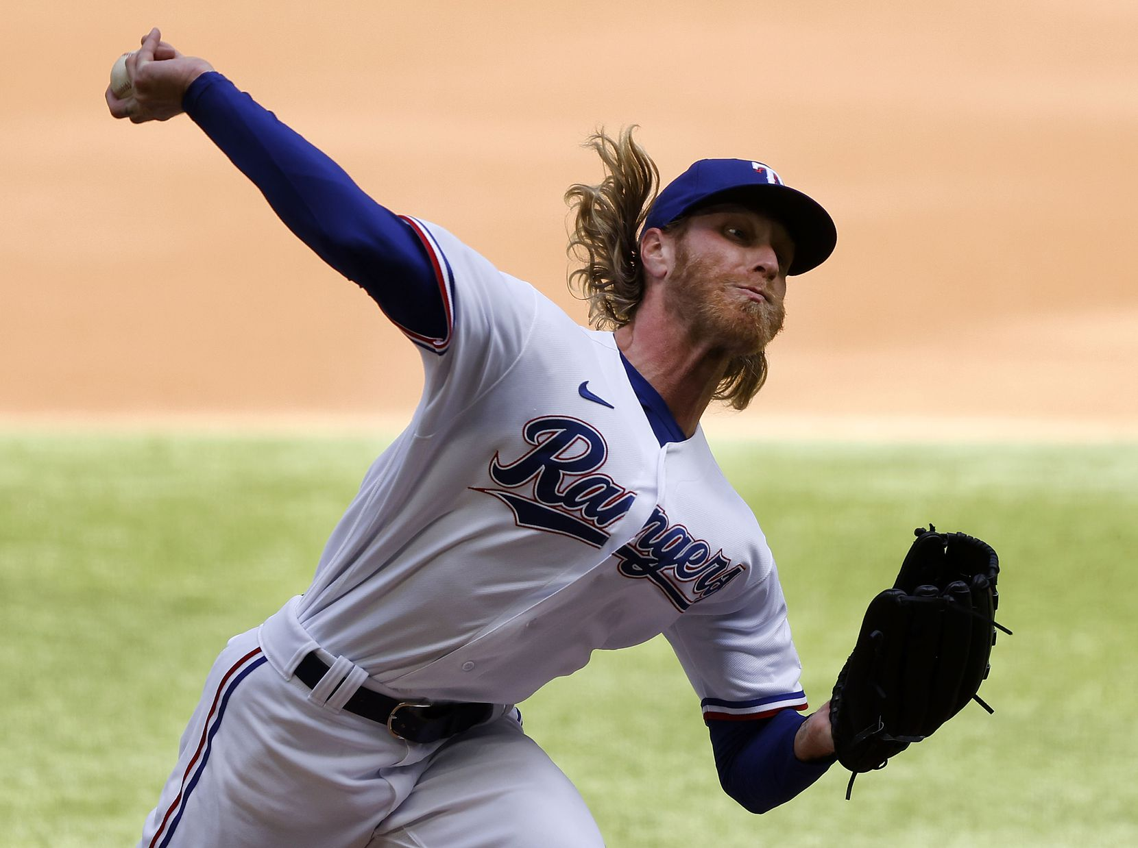 Texas Rangers starting pitcher Mike Foltynewicz (20) throws against the Toronto Blue Jays in the first inning at Globe Life Field in Arlington, Monday, April 5, 2021. The Texas Rangers were facing the Toronto Blue Jays in their home opener. (Tom Fox/The Dallas Morning News)