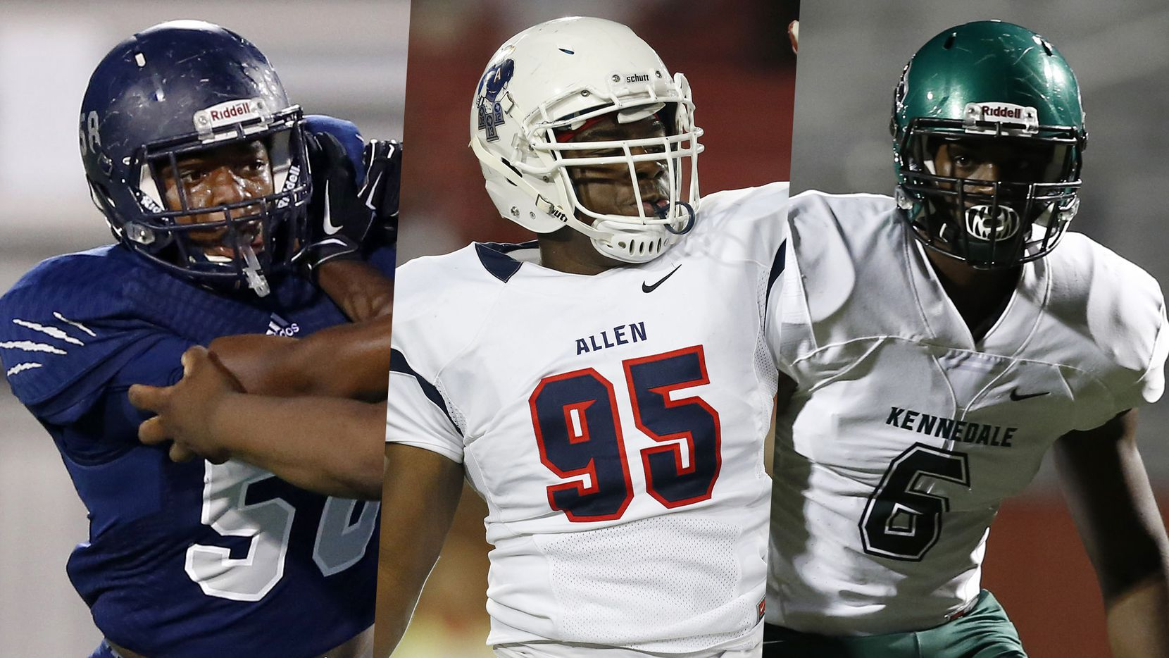 Fro left to right: Carrollton Ranchview's Dayo Odeyingbo, Allen's Levi Onwuzurike and Kennedale's Baron Browning.
