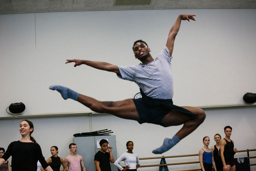 Ricardo Hartley, 19, a Booker T. Washington alumnus, warms up during first year ballet class at the Juilliard School.