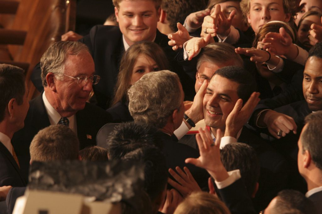 President George W. Bush embraced Rep. Henry Cuellar, a Laredo Democrat, at his 2006 State of the Union address.