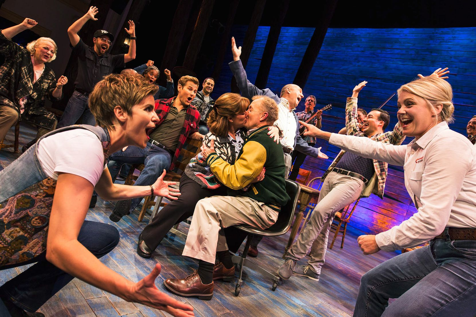 (from l-r) Jenn Colella, Kendra Kassebaum and the cast from 'Come From Away,' one of the 2017 nominees for Best Musical in the 71st annual Tony Awards.