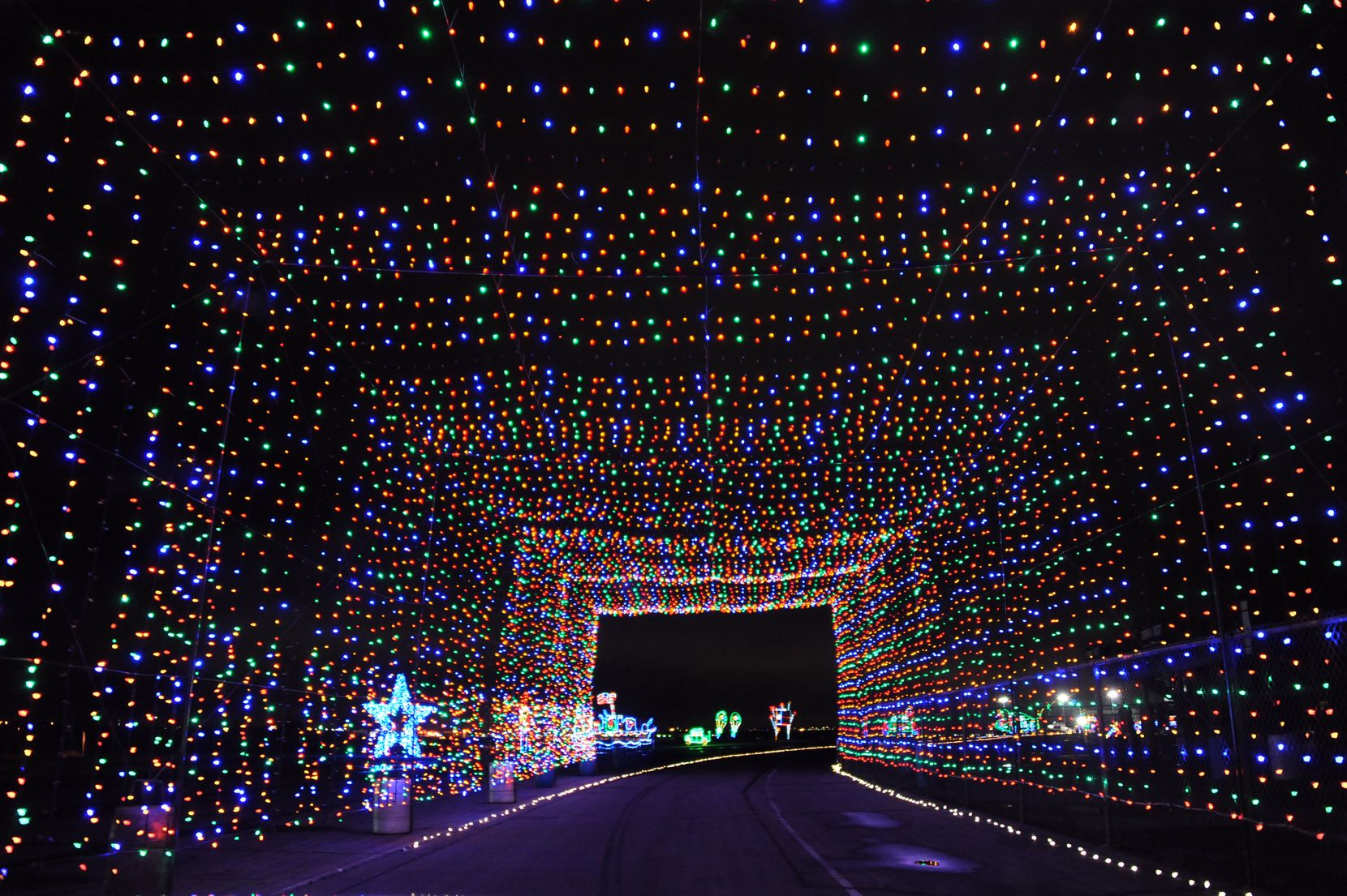 Gift of Lights at Texas Motor Speedway is a drive-through attraction, which stretches 2 miles and features nearly 3 million LED lights.