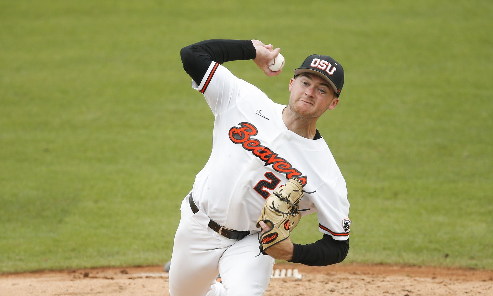 Oregon St. starting pitcher Kevin Abel (23) throws in the third inning during the NCAA Fort Worth Regional baseball tournament against DBU at TCU's Lupton Stadium in Fort Worth, Friday, June 4, 2021. Dallas Baptist won 6-5. (Brandon Wade/Special Contributor)