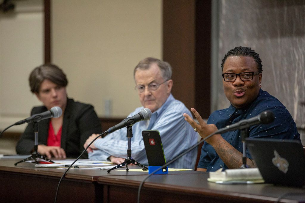 Trenton Johnson (CQ), a former Mr. Black Trans International, transgender activist and public speaker, joins the panel at the sodomy laws and same-sex marriage event hosted by The Dallas Morning News and the Deason Criminal Justice Reform Center at Southern Methodist University Dedman School of Law in Dallas, Texas, Tuesday, June 26, 2018.