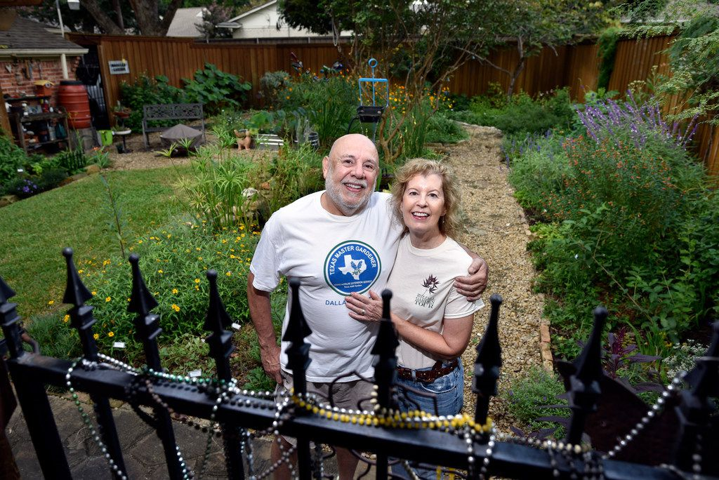Felix and Maggie Saucedo in their backyard garden in Dallas