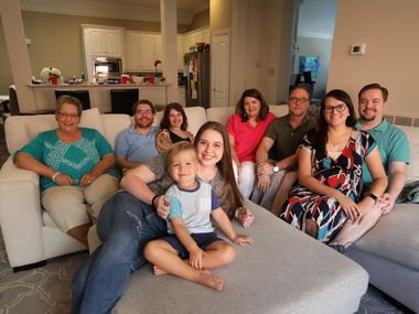 To Trenton Cary (back row, second from left, at his parents' Plano home), the decision by himself and family members to get the COVID-19 vaccine was considered a matter of life and death — particularly for himself, considering he has received two heart transplants and a cancer diagnosis. Other family members (clockwise from back left): Vicki Quarello, Trent's aunt; Jessica Cary, his wife; Valerie and David Cary, his parents; Kira and Austin Cary, his sister-in-law and brother; Allison Cary, his sister; and Oliver Cary, his nephew and Kira and Austin's son.