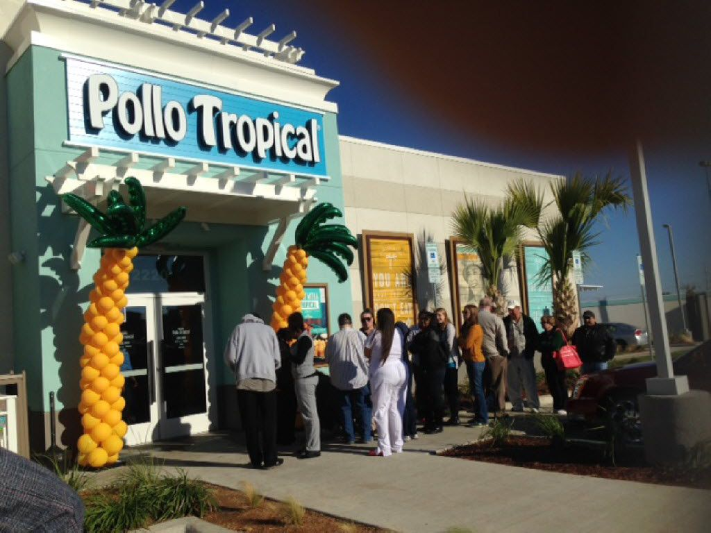 In better times, crowds waited outside for the grand opening of Pollo Tropical in Denton.