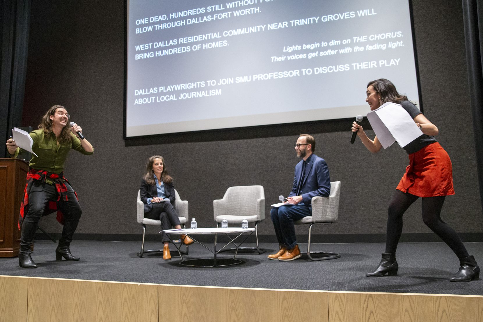 Brigham Mosley (left) and Janielle Kastner (far right) perform an excerpt from their new 'Playwrights in the Newsroom' drama with help from SMU journalism professor Lauren Smart and The News' Arts & Entertainment Editor Christopher Wynn, during 'Duets,' a conversation series for members of 'The Dallas Morning News.'
