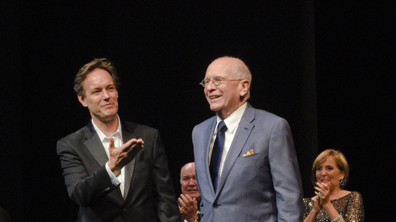 """Composer Jake Heggie, director Jack O'Brien, playwright Terrence McNally and mezzo-soprano Frederica von Stade during a curtain call for """"Great Scott,"""" which premiered at the Dallas Opera in 2015."""