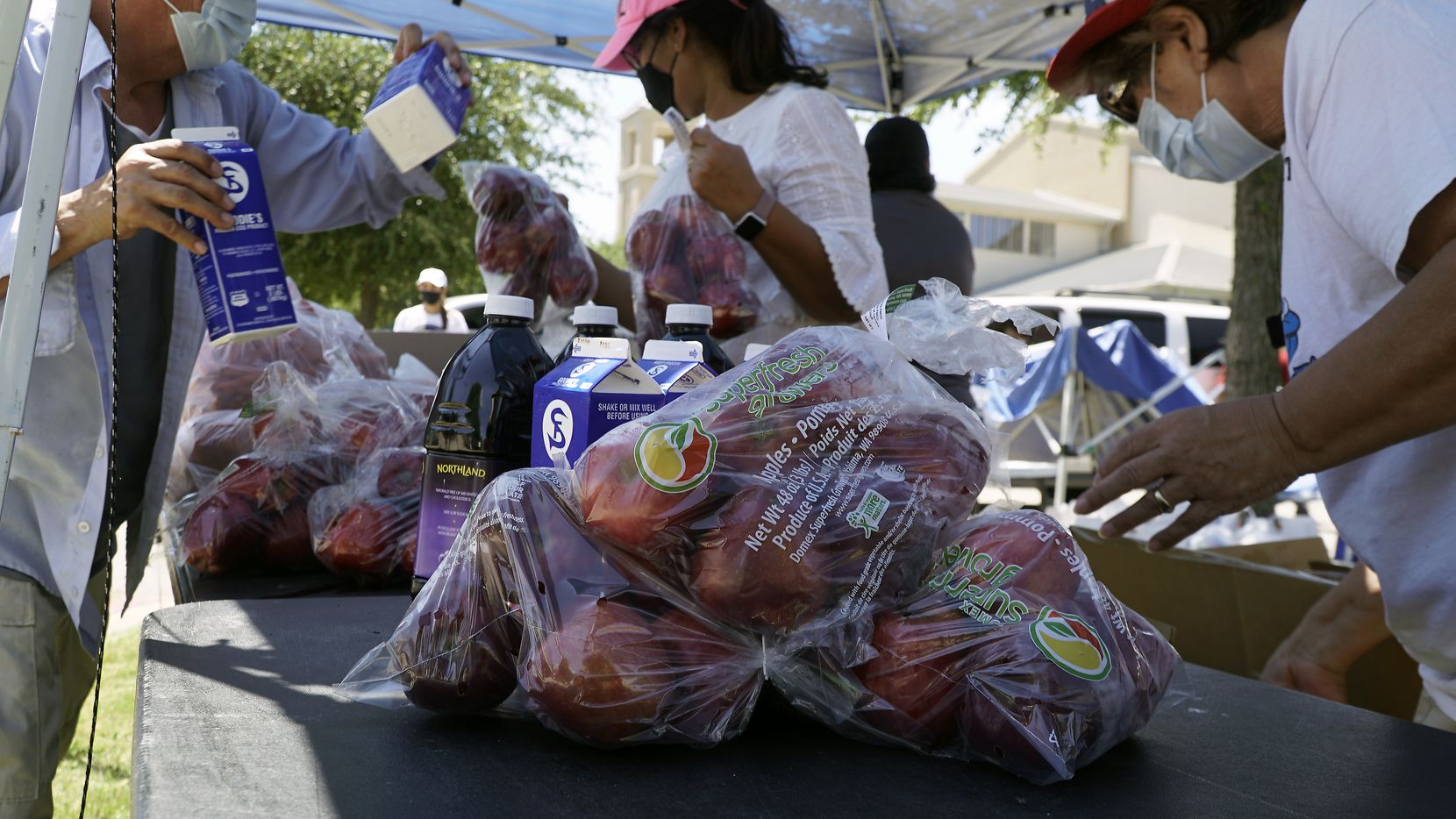 Bags By Bedi fed over 100 families during a food drive at St. Cecilia's Catholic Church in Dallas, Texas on Thursday, August 20, 2020. They provided fruit and vegetables, as well as milk and juice. (Lawrence Jenkins/Special Contributor)