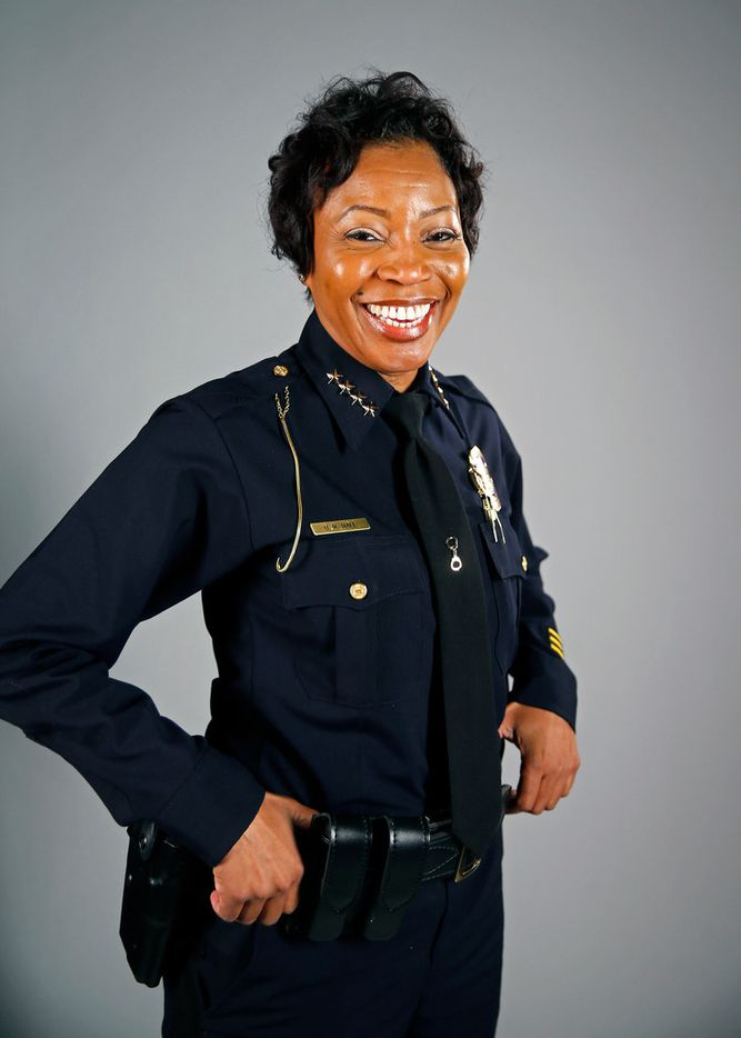 Dallas Police Chief U. Renee Hall poses for a photograph at The Dallas Morning News' studio on June 15, 2018.