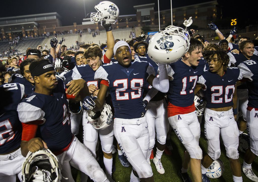 Allen players celebrate after a 41-28 win over Cedar Hill on Friday, August 30, 2019 at Eagle Stadium in Allen. (Ashley Landis/The Dallas Morning News)