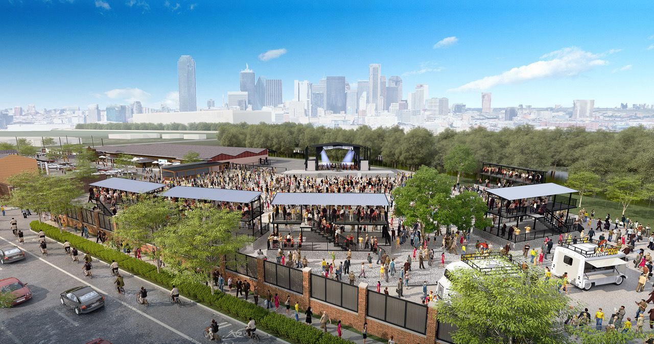 """Architectural renderings show proposed plans for the Longhorn Ballroom compound in Dallas, including a second building described as """"a creative center for entrepreneurs"""" with office and retail space and a third space that can accomodate outdoor concerts."""
