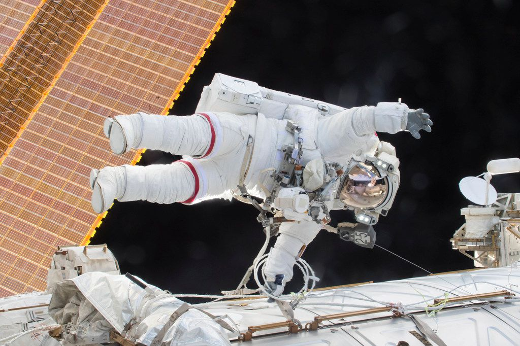 On Dec. 21, 2015, Scott Kelly participated in a spacewalk outside the International Space Station in which he and flight engineer Tim Kopra moved the station's mobile transporter rail car ahead of the docking of a Russian cargo supply spacecraft.