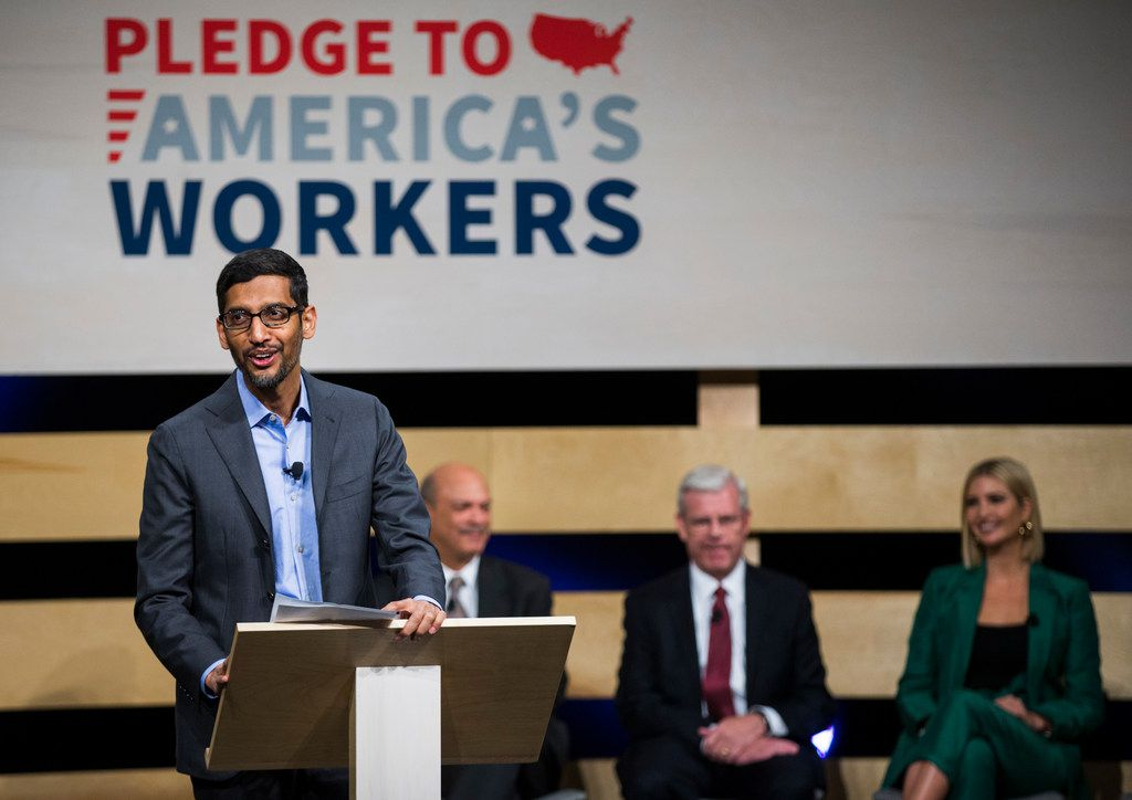 Sundar Pichai, CEO of Google, speaks before signing the White HouseÕs Pledge to AmericaÕs Workers with Ivanka Trump, Advisor to the President, on Thursday, October 3, 2019 at El Centro College in Dallas. Google announced they are expanding their online IT Support Professional Certificate. (Ashley Landis/The Dallas Morning News)