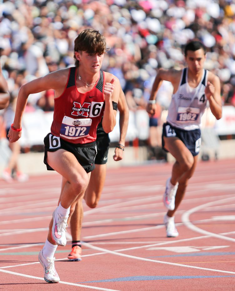 Flower Mound Marcus' Greyson Gravitt competes in the 6A Boys 800 meter run during the UIL state track meet at the Mike A. Myers Stadium, at the University of Texas on May 8, 2021 in Austin, Texas.