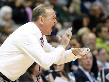 Mississippi State Lady Bulldogs head coach Vic Schaefer tries to fire up his players as they attempt a comeback against South Carolina Gamecocks during the second half of their NCAA Women's Final Four championship game at the American Airlines Center in Dallas, Sunday, April 2, 2017. South Carolina defeated Mississippi State, 67-55.