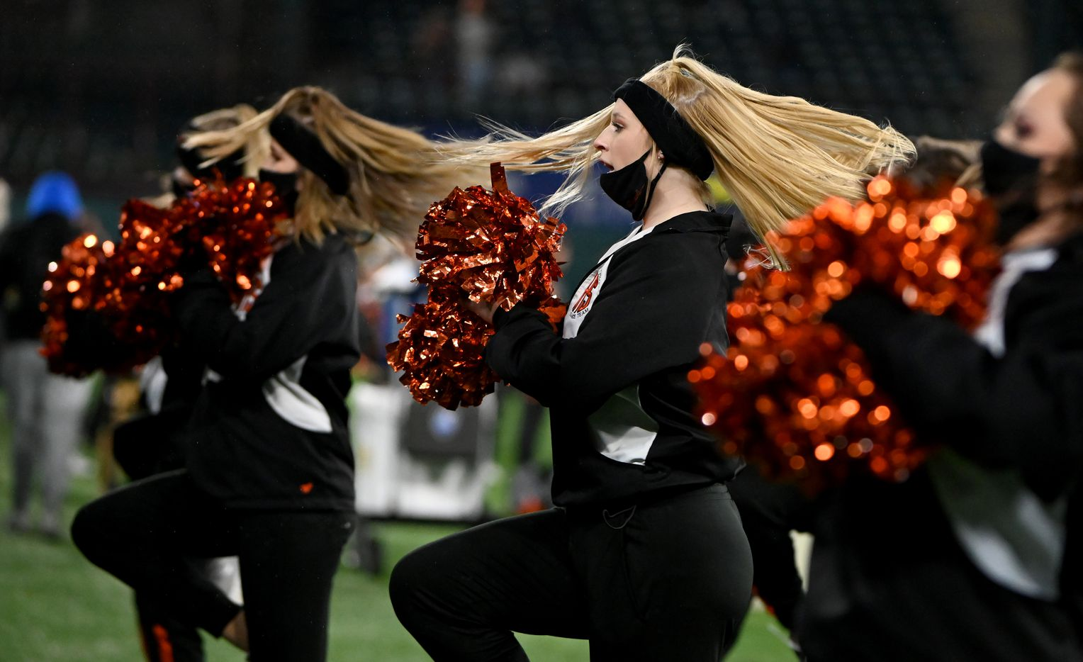 Aledo cheerleaders perform in the first quarter of the Class 5A Division II Region II final high school football game between Aledo and Lovejoy, Friday, Jan. 1, 2021, in Arlington, Texas. (Matt Strasen/Special Contributor)