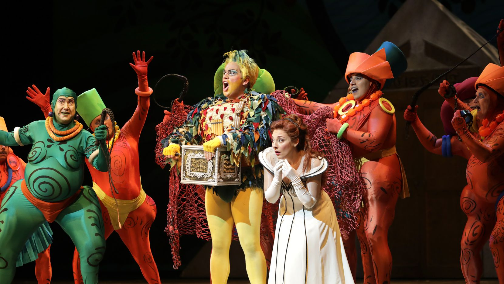 Dress rehearsal of the Dallas Opera's 'The Magic Flute,' at Winspear Opera House in Dallas, TX, on Oct. 15, 2019. In foreground, L to R, Brian Frutiger as Monostatos, Sean Michael Plumb as Papageno and Andrea Carroll as Pamina.