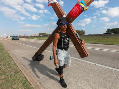 Felipe Cantú, 50, spent six weeks talking from his hometown, San Antonio, to Fort Worth and Mansfield, where he has family and his infant son Angel is buried.