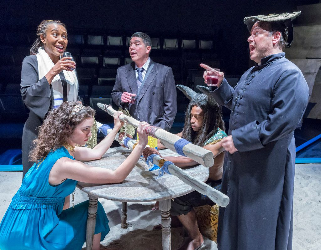 Renee Jones as a Rabbi and David Lugo as a lawyer. Seated: Cora Grace Winstead as Ariadne, Darren McElroy as the Minotaur and Randy Pearlman as a priest in  The Minotaur  at Theatre Three in Dallas.