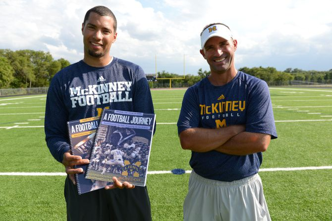 Jeff Smith (right) was the head football coach at McKinney High School. He and fellow coach Darrick Ware implemented a character curriculum for their football players.