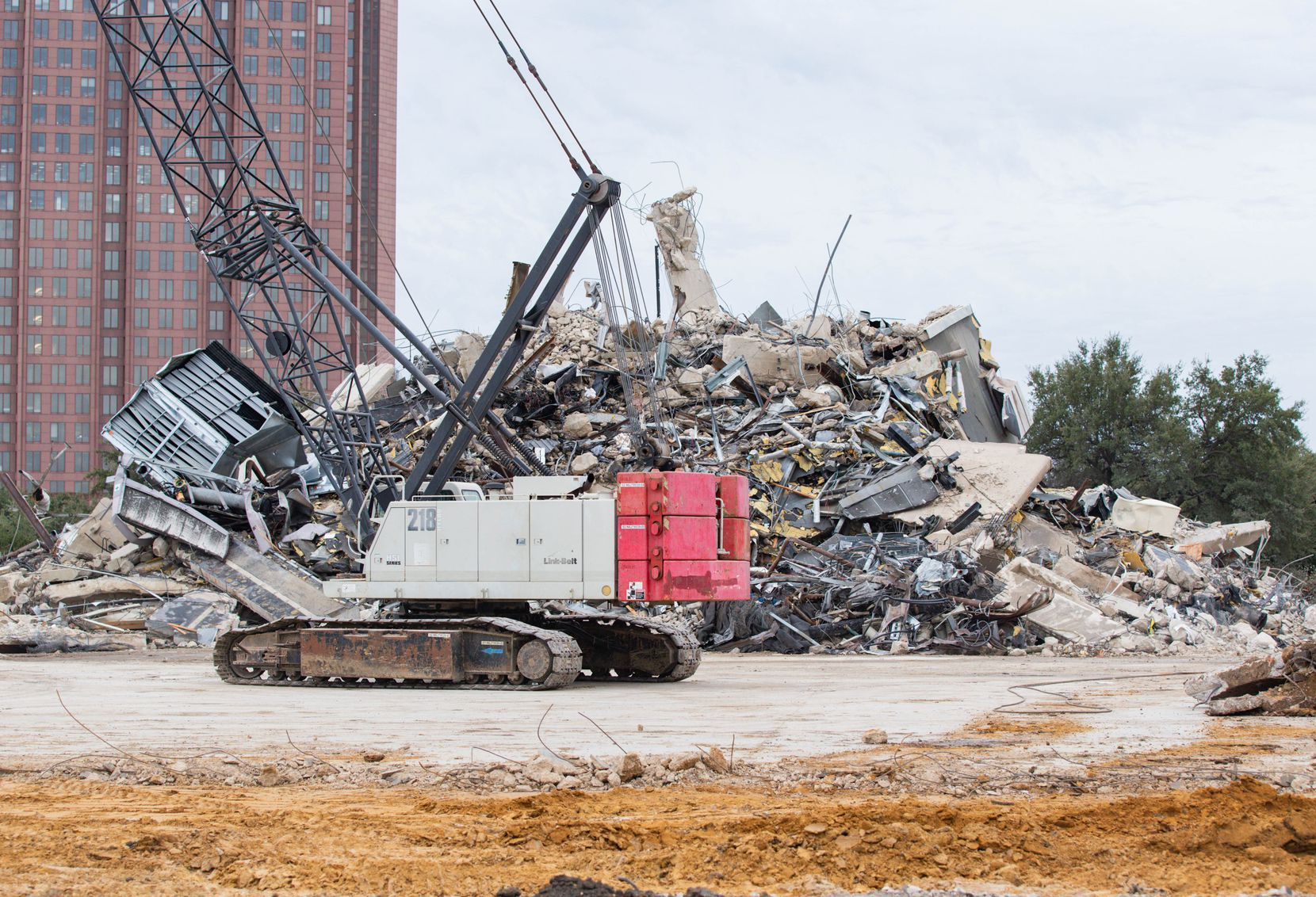 It took weeks, but the former Affiliated Computer Services building on Haskell Avenue was finally reduced to a pile of rubble on March 2, 2020.