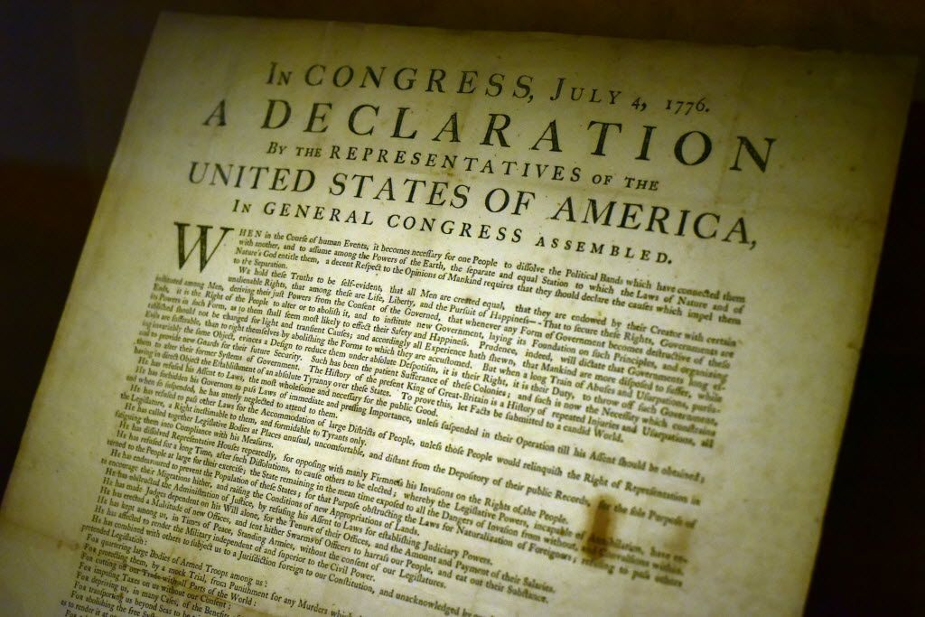 A John Dunlap print of the Declaration of Independence, printed on the night of July 4, 1776, on display on the renovated seventh floor inside the Dallas Public Library, on Wednesday, Aug. 17, 2016 in Downtown Dallas.