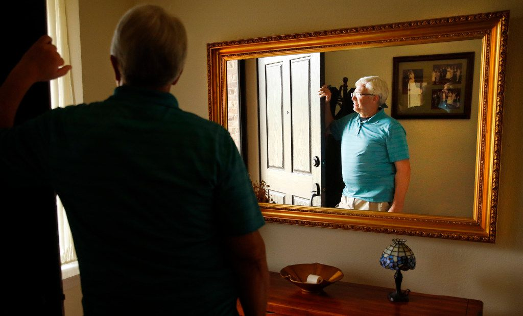 Garland ISD security officer Bruce Joiner, who was shot by terrorists outside the Garland Caldwell Center in 2015, is photographed at his Sunnyvale, Texas home, Friday, May 19, 2017. (Tom Fox/The Dallas Morning News)