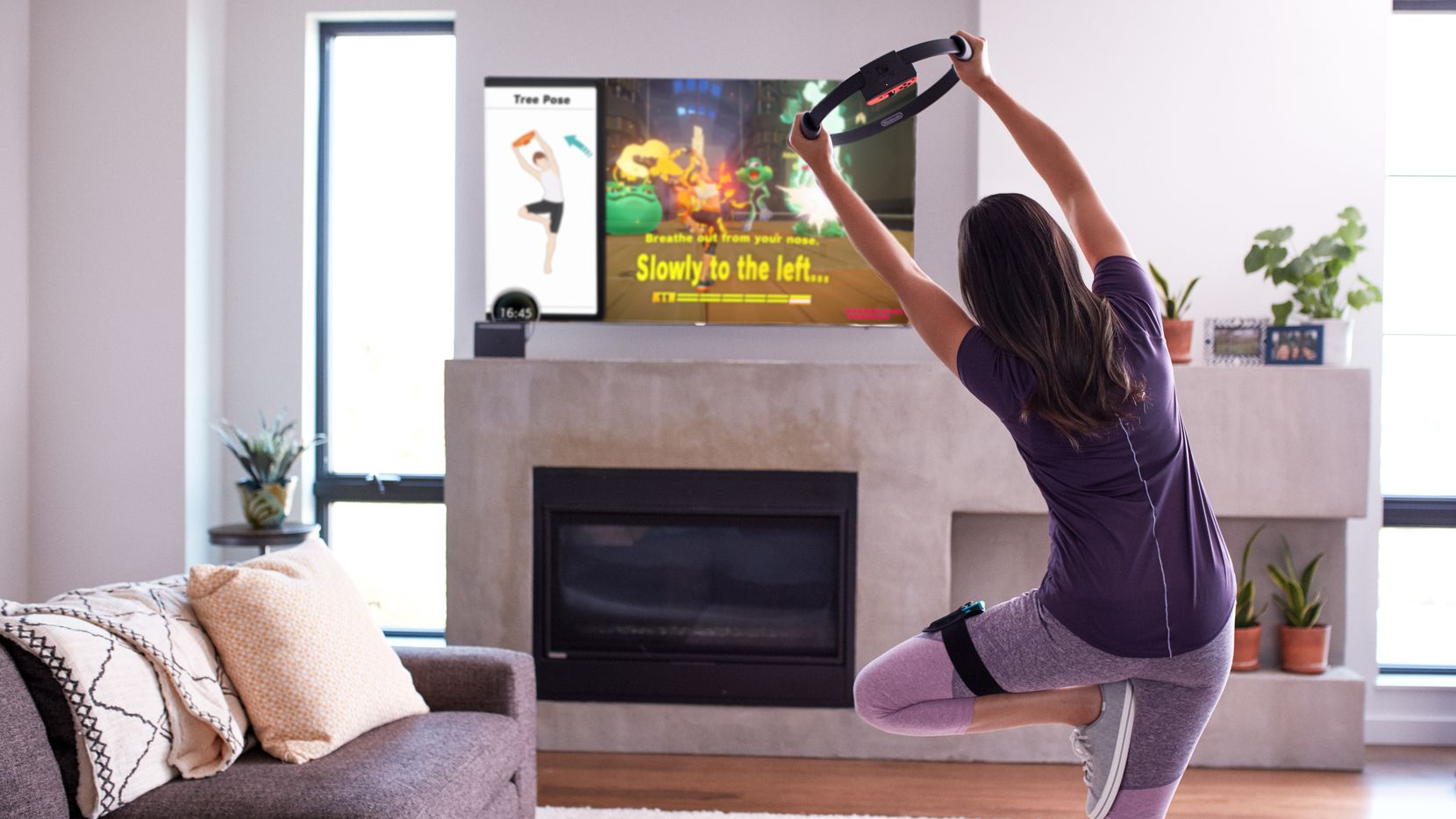 """A promotional photo from Nintendo of America showcasing """"Ring Fit Adventure"""" for the Nintendo Switch."""