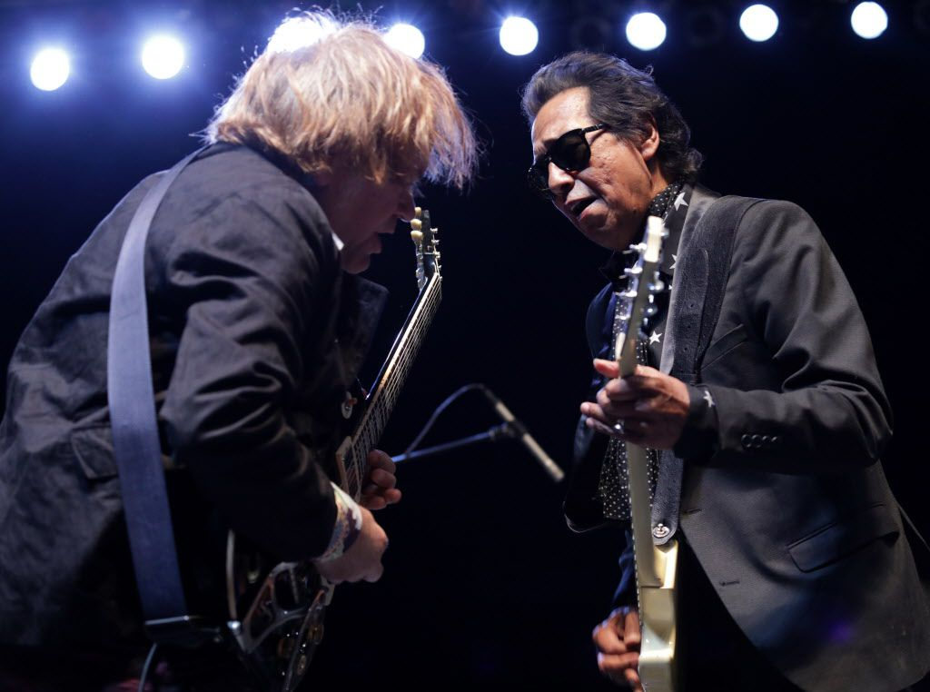 Alejandro Escovedo, right, performs with his band at Toyota Music Factory in Irving. The entertainment complex is doubling down on live music with the opening of Big Beat Dallas, a network of five bars and restaurants that each have a stage.