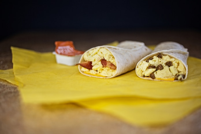 Whataburger's famous taquitos come with sausage, egg and cheese, right; bacon, egg and cheese, left; as well as with potatoes. They are the ultimate Texas breakfast.