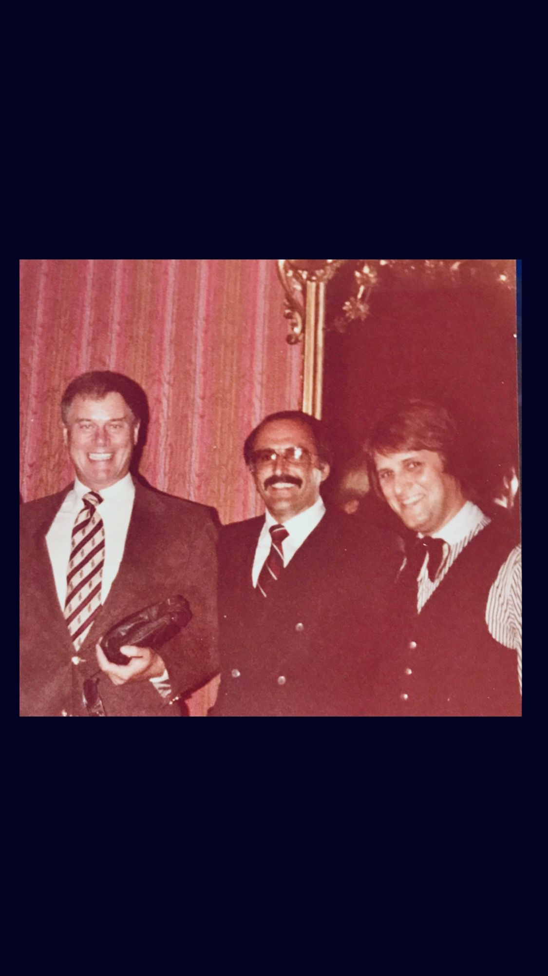 Tom Ruggeri (center), owner of Ruggeri's restaurant, served many famous faces over the years, including actor Larry Hagman (left). Also pictured is longtime bar manager Sonny Skrakowski.
