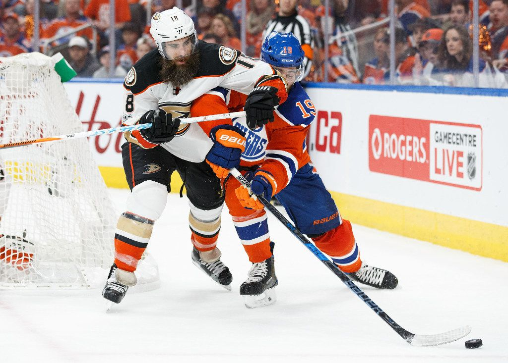 EDMONTON, AB - APRIL 30:  Patrick Maroon #19 of the Edmonton Oilers takes an elbow from Patrick Eaves #18 of the Anaheim Ducks in Game Three of the Western Conference Second Round during the 2017 NHL Stanley Cup Playoffs at Rogers Place on April 30, 2017 in Edmonton, Alberta, Canada. (Photo by Codie McLachlan/Getty Images)