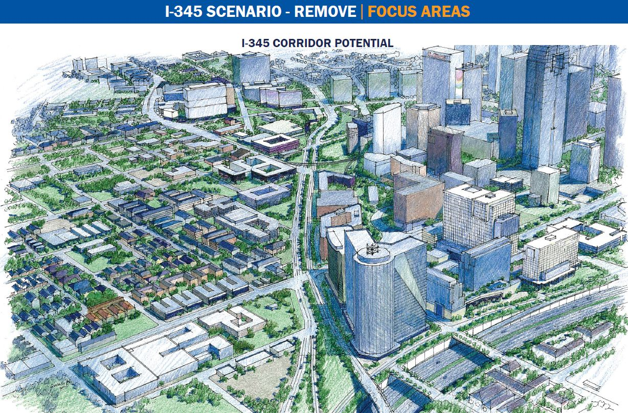 Proposal for removal of Interstate 345, which connects US Highway 75 and Interstate 45 on the east of downtown Dallas.