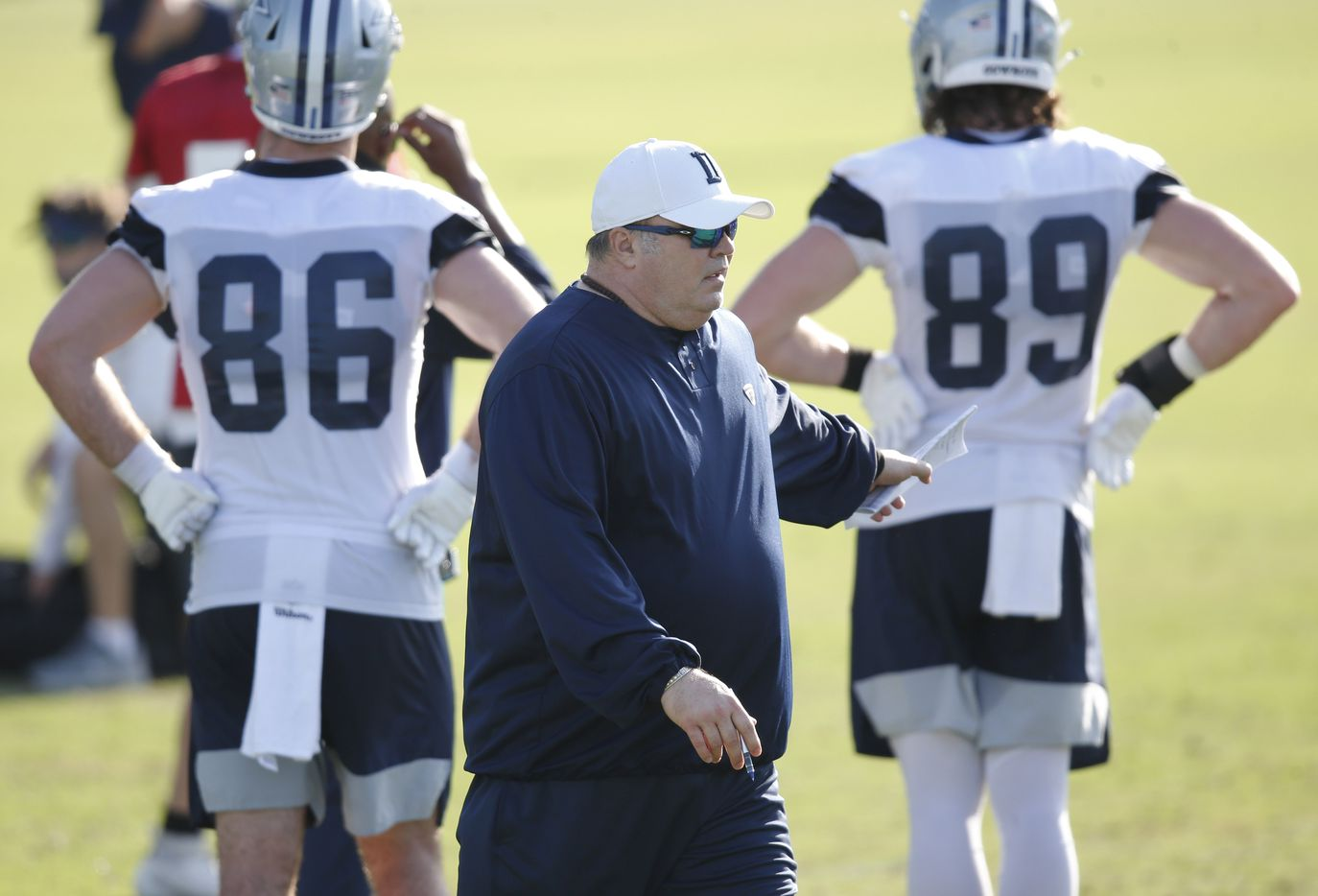 Dallas Cowboys head coach Mike McCarthy during the first day of training camp at Dallas Cowboys headquarters at The Star in Frisco, Texas on Friday, August 14, 2020. (Vernon Bryant/The Dallas Morning News)