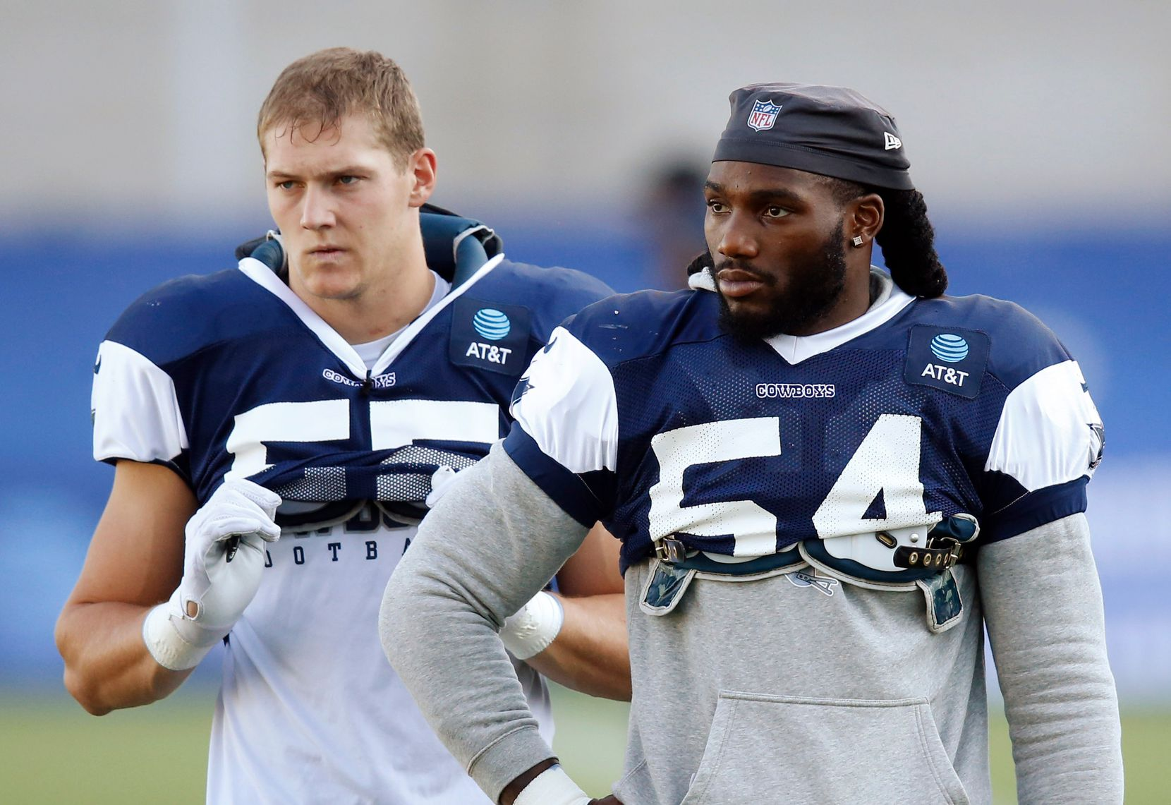 Dallas Cowboys linebacker Jaylon Smith (54) and Dallas Cowboys linebacker Leighton Vander Esch (55) during training camp at the Dallas Cowboys headquarters at The Star in Frisco, Texas on Thursday, August 20, 2020. (Vernon Bryant/The Dallas Morning News)